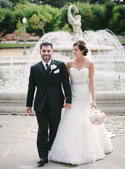Bride and groom at the fountains