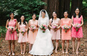 The bride and bridesmaids at Valley Presbyterian Church