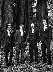 black and white photo of groomsmen in front of redwood trees
