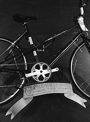 Balck and white photo of an old school bike