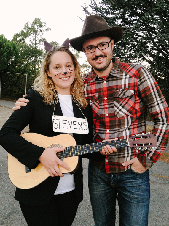 Candace dressed up as Cat Stevens and Vitaliy dressed up as a cowboy