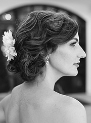Black and white portrait of the bride