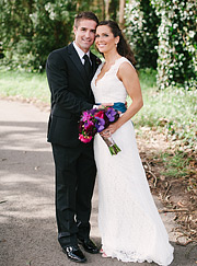 Full length portrait of bride and groom at Presidio Golf Club