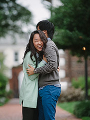 Couple laughing. Old Town Alexandria engagement photos.