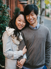 Portrait of a couple on the old street. Old Town Alexandria engagement photos.