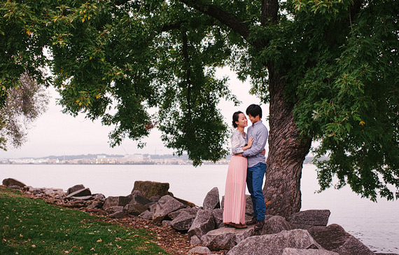 Portrait on the shoreline. Old Town Alexandria engagement photos.