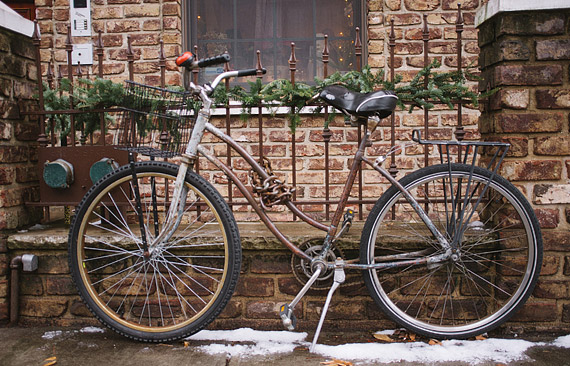 Old Bicycle in Brooklyn with snow on the ground