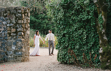 Bride and Groom taking a walk at Annadel Estate Winery in Santa Rosa