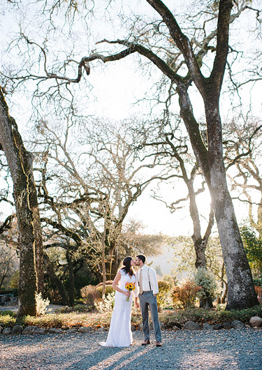 Romantic wedding photography at Gorgeous portrait of bride and groom at  Annadel Estate Winery