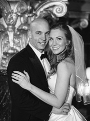 Black and white portrait of bride and groom at Westin St. Francis