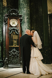 Wedding photography at Westin St. Francis by grandfather clock