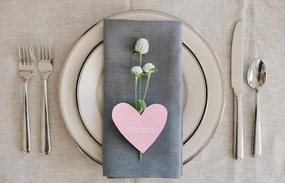 Gray and pink table setting for Valentine's Day dinner party