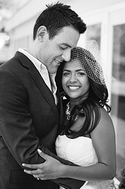 Multicultural wedding, black and white photo of the bride and groom