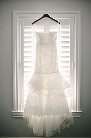 Bride's gown hanging on the hanger
