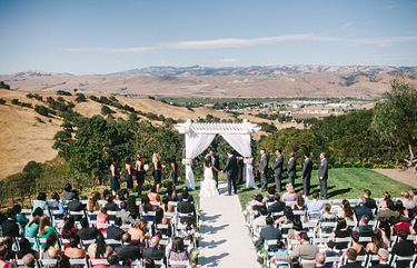 View of the ceremony at Willow Heights Mansion