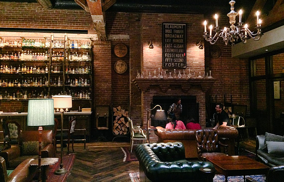 Leather couches and chairs at Multnomah Whiskey Library