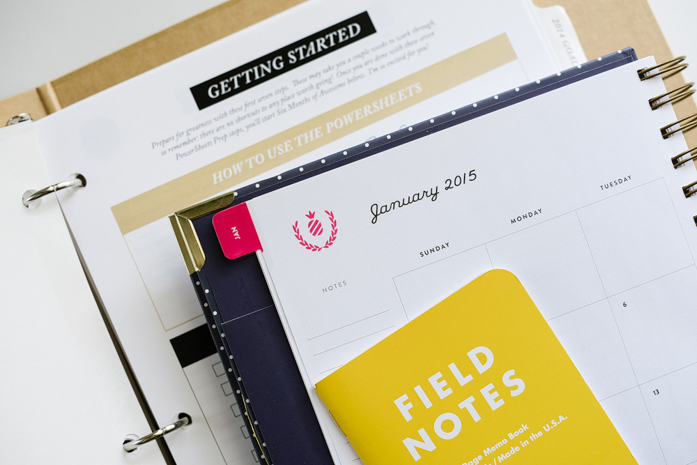 PowerSheets by Lara Casey, Simplified Planner by Emily Ley and Field Notes notebook