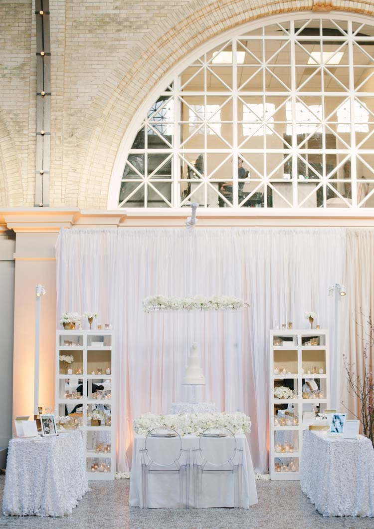 White linens, white florals, clear acrylic chairs