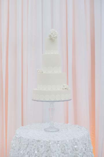 White wedding cake at the Ferry Building