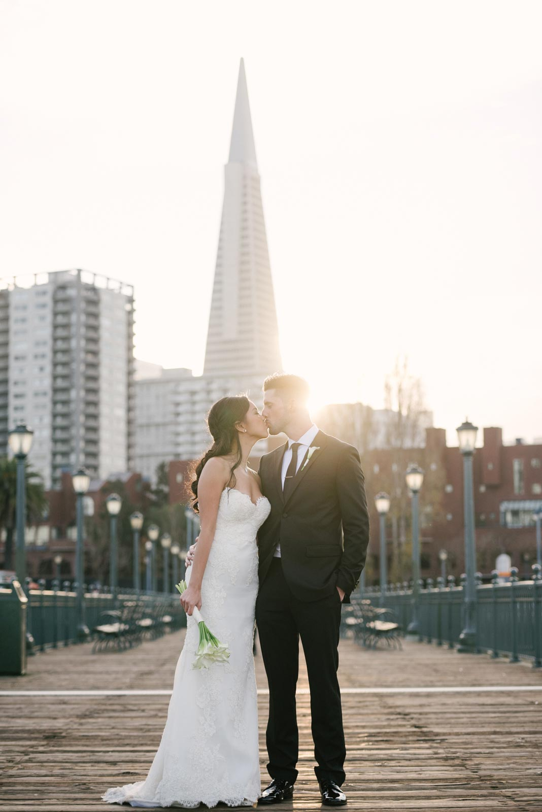 San Francisco sunset with bride and groom