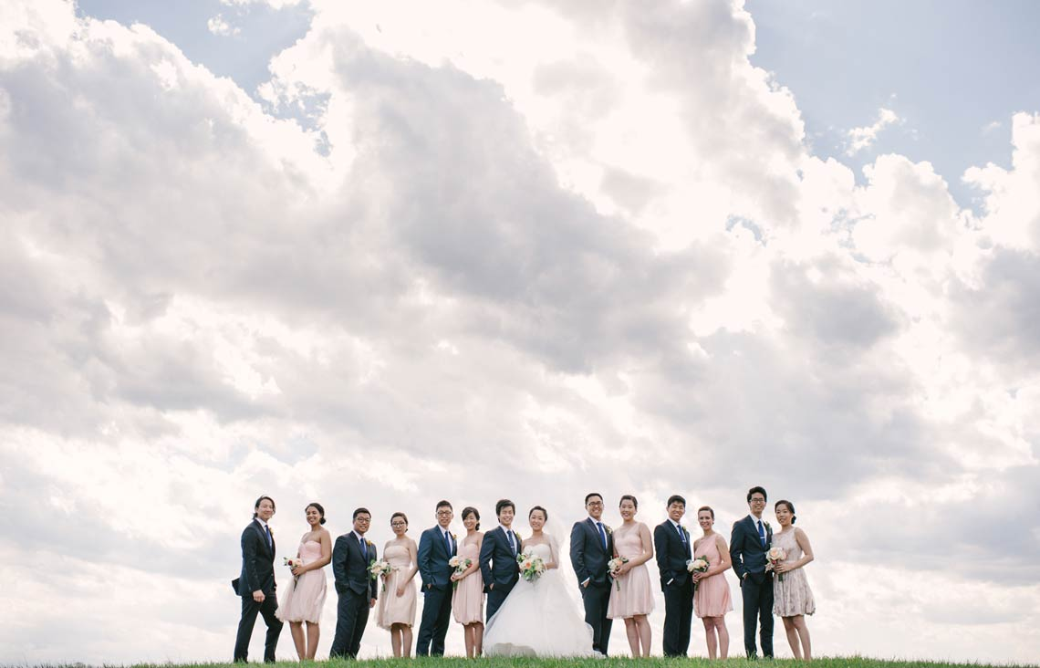 Wedding party on top of a hill with beautiful clouds and blue sky. Maryland wedding photographer.