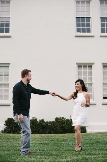 Couple dancing together in the San Francisco Presidio. SF engagement photographer
