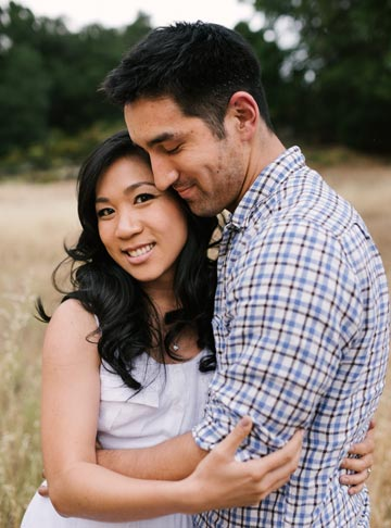 Couple lifestyle engagement portrait outdoors in Palo Alto
