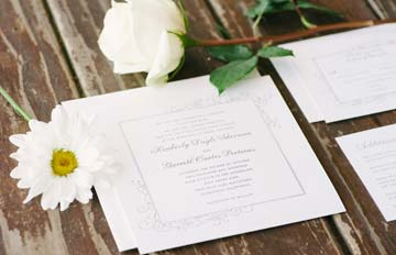 Wedding details of invitation and florals