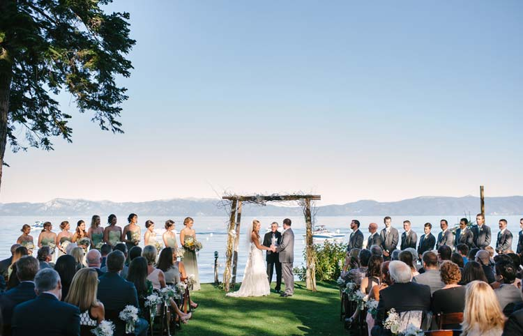 Lake tahoe lakeshore wedding