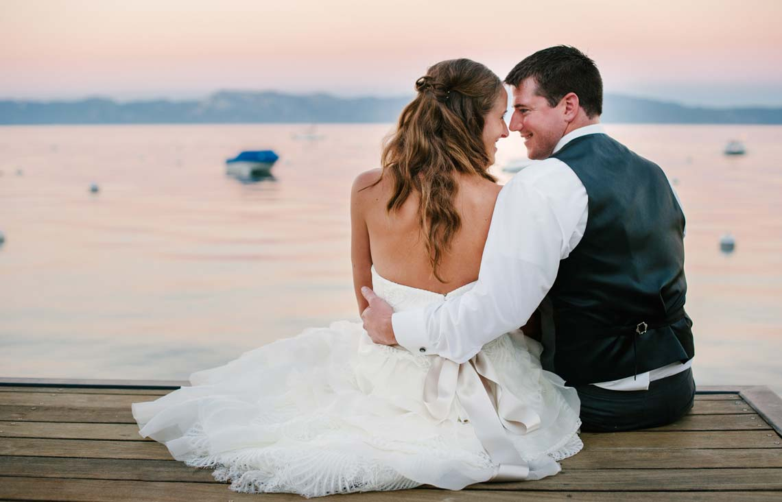 Wedding photos of bride and groom at West Shore Cafe and Inn in lke Tahoe
