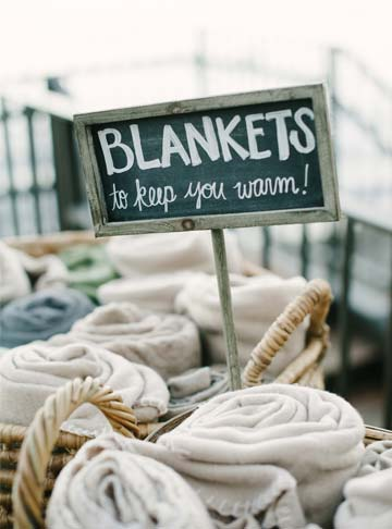 Blankets for outdoor West Shore Cafe Lake Tahoe wedding reception
