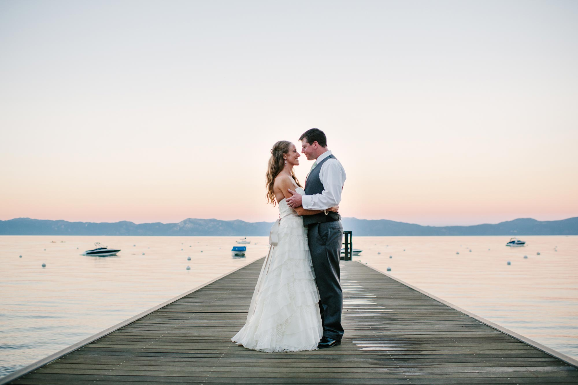 Bride And Groom On The Dock In Lake Tahoe Wedding Photography By Pictilio