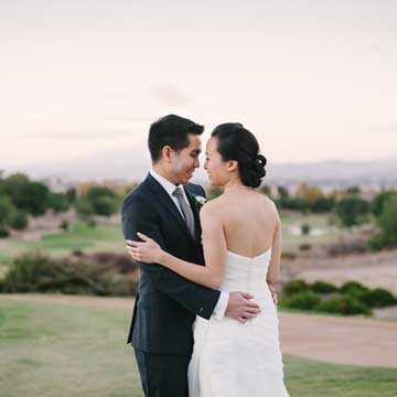 Romantic portrait of bride and groom at Ruby Hill Golf Club in Pleasanton