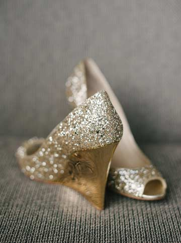 Jimmy Choo Bello Glitter Wedge Pumps