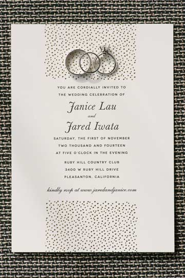 Gold letterpress wedding invitation