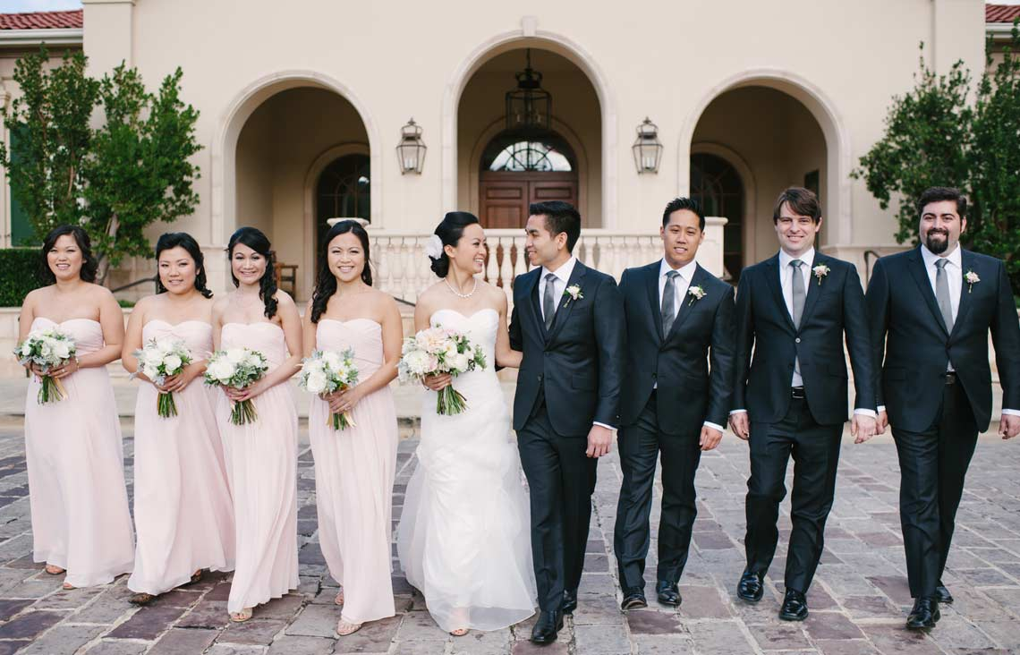 Relaxed portrait of wedding party at Bridal party at Ruby Hill Golf Club