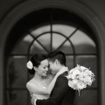 Wedding photography at Ruby Hill Golf Club. Bride and groom gently embrace