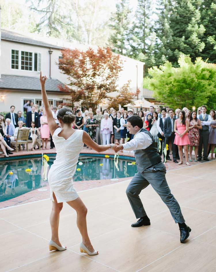 California backyard wedding, first dance of bride and groom