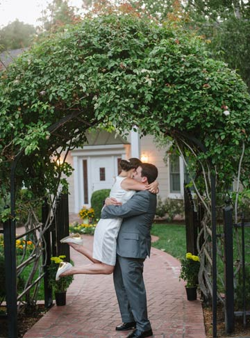 Relaxed portrat of bride and groom in a private California backyard wedding