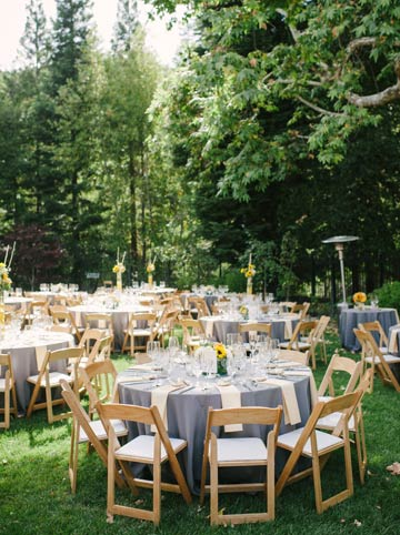 Wedding details: table setup at an intimate backyard wedding