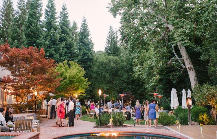 San Francisco backyard wedding reception at dusk